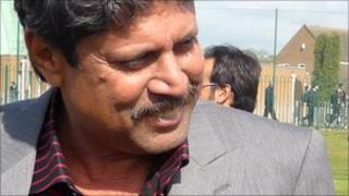 Former Indian cricketer Kapil Dev at Soar Valley College in Leicester