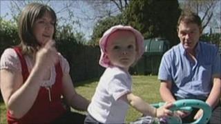 Sandra Barlow, her daughter Maia and husband Chris