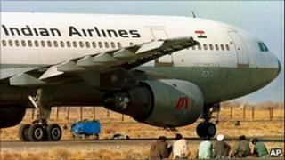 Indian Airlines plane parked at Kandahar airstrip in Afghanistan on 27 December 1999