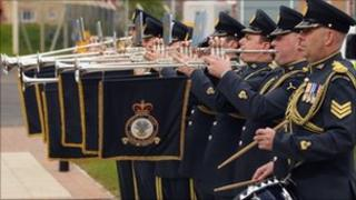 The eight-piece band practicing at RAF Northolt