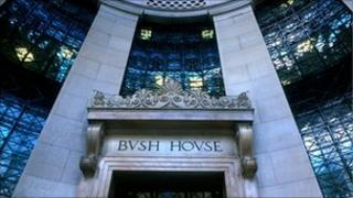 The front Portico entrance of BBC's Bush House in the Aldwych, London