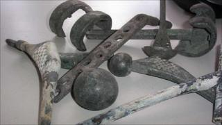 Metal items recovered from crematoria ash
