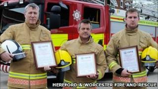 Watch commander Julian Jenkins, firefighter Jason Mayhew and firefighter Richard Young