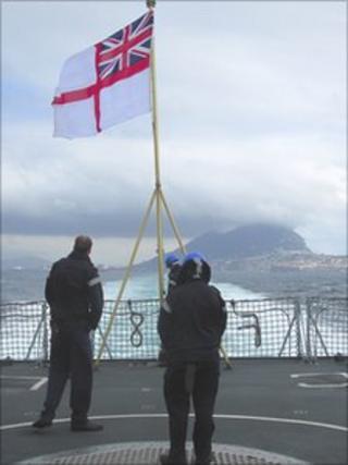 HMS Cumberland leaving Gibraltar