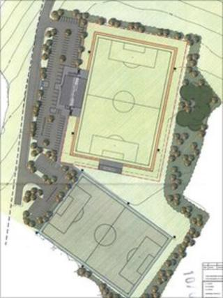 Map of the plans for the new stadium