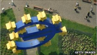 Picture of the giant Euro sign outside the ECB