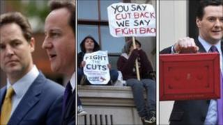 Nick Clegg and David Cameron after forming the coalition, students protesting against spending cuts and George Osborne ahead of his second Budget