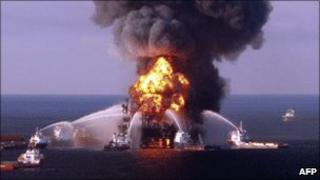 Crews fight the deadly fire aboard BP's Deepwater Horizon rig
