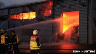 Firefighters tackle CoolerAid blaze