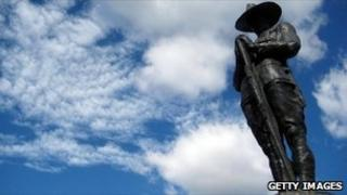 The statue of an Anzac soldier on the Anzac Bridge in Sydney, Australia