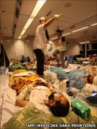 Injured people on Medecins Sans Frontieres boat leaving Libya for Tunisia on 17 April 2011