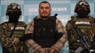 Mexican marines escort Martin Omar Estrada, alleged mastermind of the killings in San Fernando