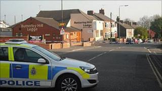 Police at Butterley Hill, Ripley