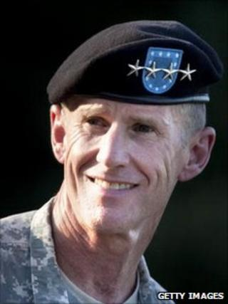 Gen Stanley McChrystal at his retirement ceremony in July