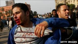 A wounded man in Tahrir Square in Cairo, 2 February