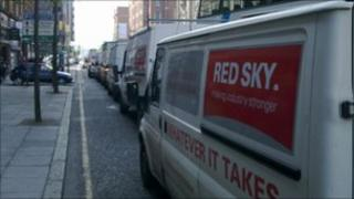 Red Sky vehicles in a convoy in Belfast