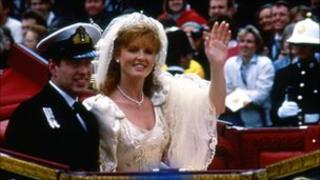 Prince Andrew and Sarah Ferguson on their wedding day in 1986