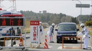 A police checkpoint into the Fukushima evacuation zone - 21 April 2011