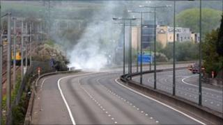 Fire under bridge on M1