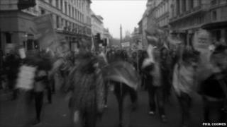 Pinhole photograph of the anti-cuts march organised by the TUC in London, 26 March 2011