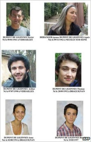 A French police handout showing the missing family