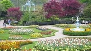 The Dingle, landscaped garden in Shrewsbury Quarry park in spring- photo by Graham Daniels