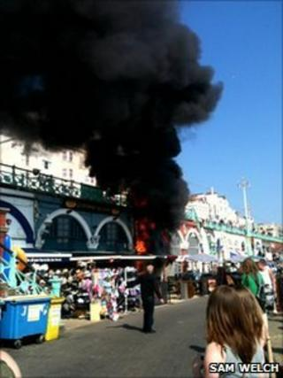 The fire at Kings Road Arches in Brighton PHOTO: Sam Welch