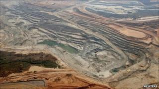 Aerial shot of the Lumwana copper mine in Zambia