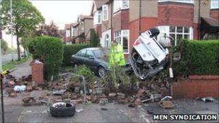 Scene of crash in Windsor Road, Hyde