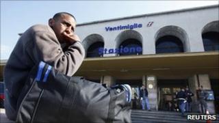 Migrant at Ventimiglia train station, Italy