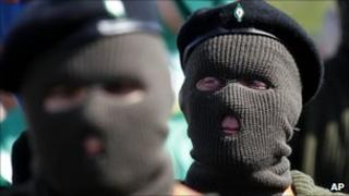 Masked members of the Real Irish Republican Army (RIRA)