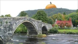 An artist's impression of what the giant pumpkin may look like above Llanrwst