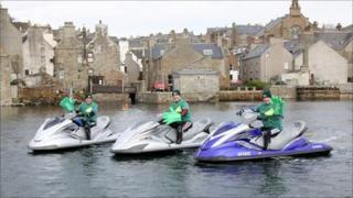 Dugy Ward (left), Colin Gregg and Gary Forber pictured on their jet skis in Stromness, Orkney