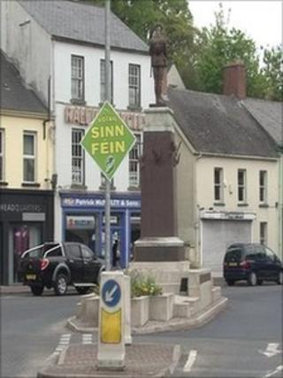 Sinn Fein election poster near Cenotaph