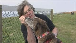 Bill Titchen and his dog in Bournemouth