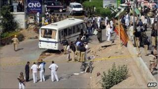 Site of navy bus attack - 28 04 2011