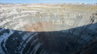 Disused diamond mine at Mirny