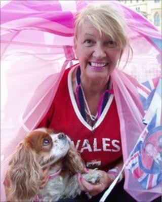 Anne Daley, from Cardiff, camping outside Westminster Abbey with her sister's dog, Camilla