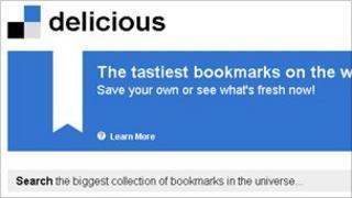 Screengrab of Delicious homepage, Delicious