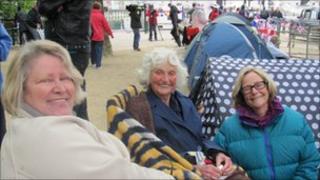 Margaret Staunton, May Dalgleish and Tina Owens, royal wedding watchers
