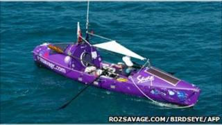 Roz Savage at sea. Photo: Birdseye Views Photography/AFP/Getty Images