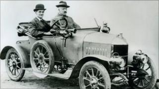 William Morris (left) pictured in a Morris Oxford Bullnose car (1913) Pic: Nuffield College