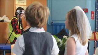 School stages a wedding