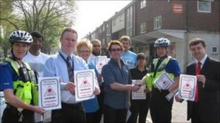 From left to right: PCSO Michele Abbott, Prasant Patel (Holyhead News and Wines), Peter Sturgeon (Coventry Police), Barbara Troth (Goes Chemist), Yasin Nawab (Sherbourne Post Office), Kevin Price (Four Seven Nine Hairdressers), David Gardiner (Beryl Simmons Hairdressers), Rajvinder Dhillon (Coundon Fish Bar), PCSO Hilary Mason and Cllr Gary Ridley