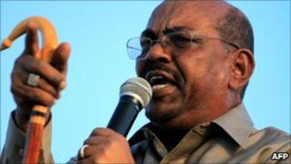 Sudan's President Omar al-Bashir addressing supporters in January 2011