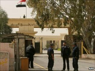 Egyptian border police at the Rafah crossing