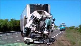 Lorry crash near North Muskham