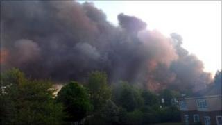 Fire at recycling warehouse