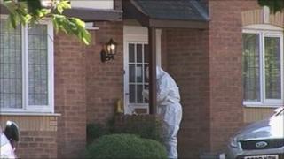 The crime scene in Pioneer Close, Wootton, Northampton