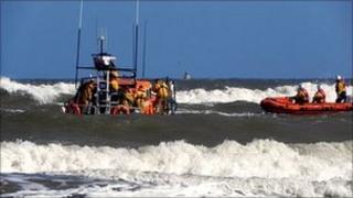 Scene of rescue off Bridlington